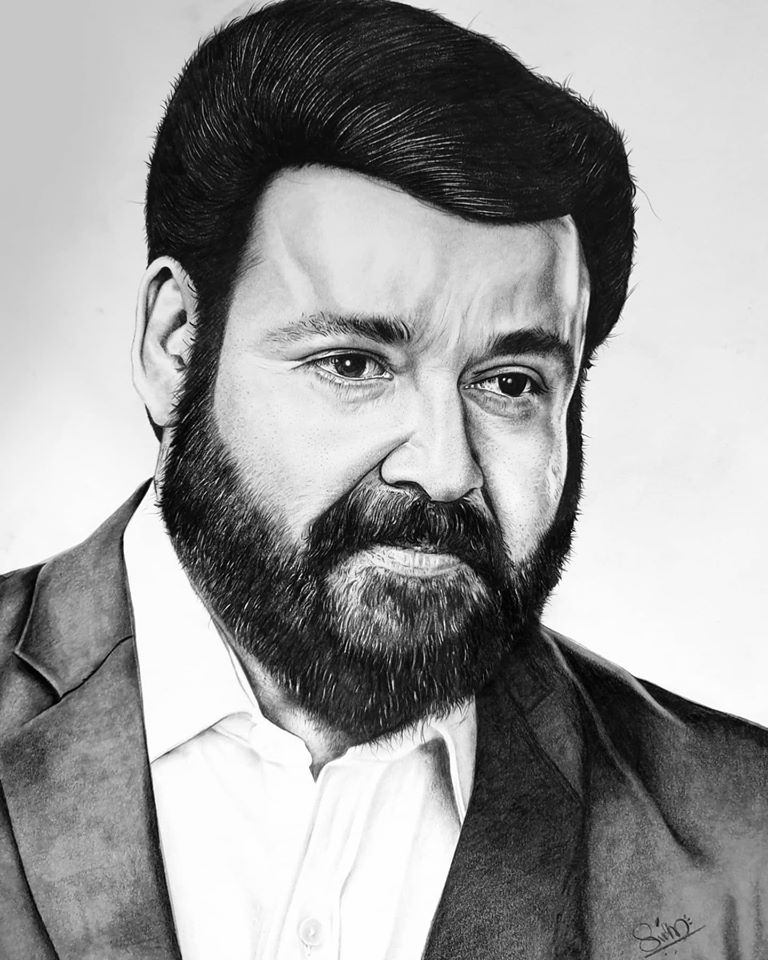 Pencil drawing of actor Mohanlal New Look