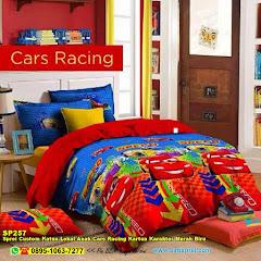 Sprei Custom Katun Lokal Anak Cars Racing Kartun Karakter Merah Biru