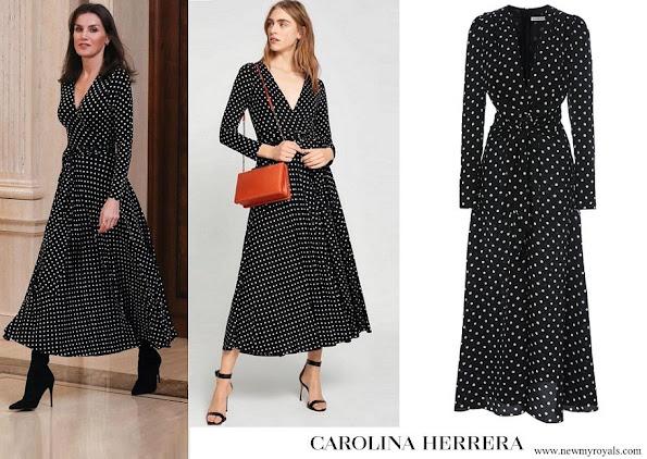 Queen Letizia wore Carolina Herrera Polka Dot Silk Shirt Dress