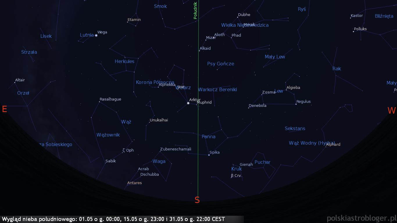 Wygląd nieba południowego 01.05 o g. 00:00, 15.05 o g. 23:00 i 31.05 o g. 22:00 CEST
