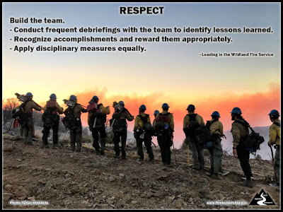 Build the team.– Conduct frequent debriefings with the team to identify lessons learned. – Recognize accomplishments and reward them appropriately. – Apply disciplinary measures equally. – Leading in the Wildland Fire Service (Tallac IHC members looking across ridge at a wildfire)