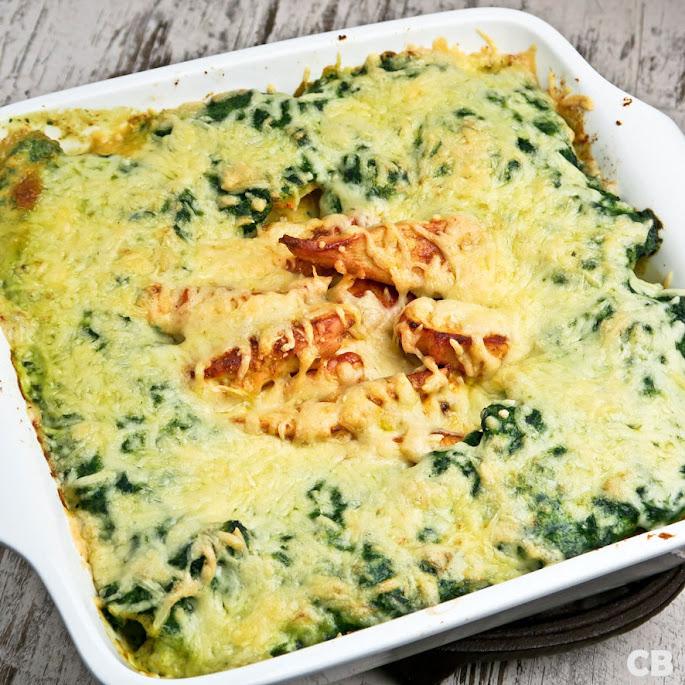 Recept Romige aardappel-kipschotel met spinazie en kaas