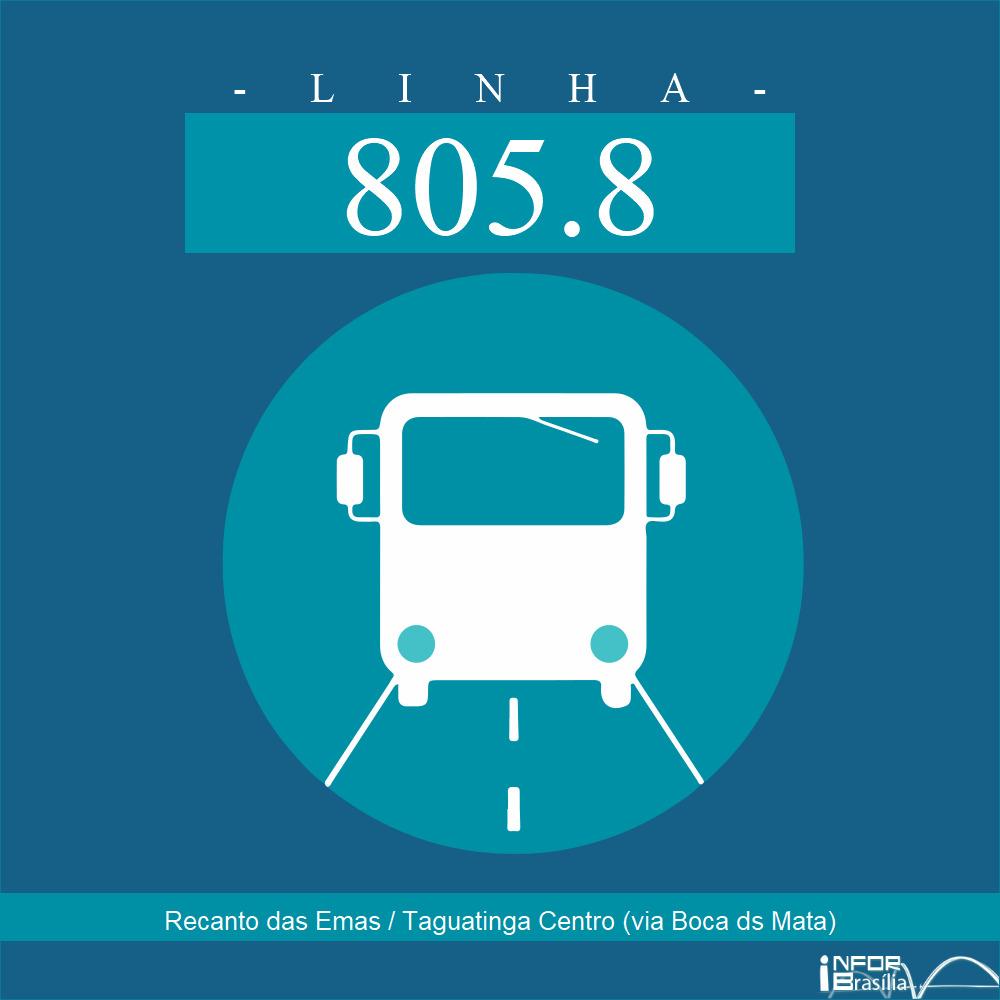 Horário de ônibus e itinerário 805.8 - Recanto das Emas / Taguatinga Centro (via Boca ds Mata)