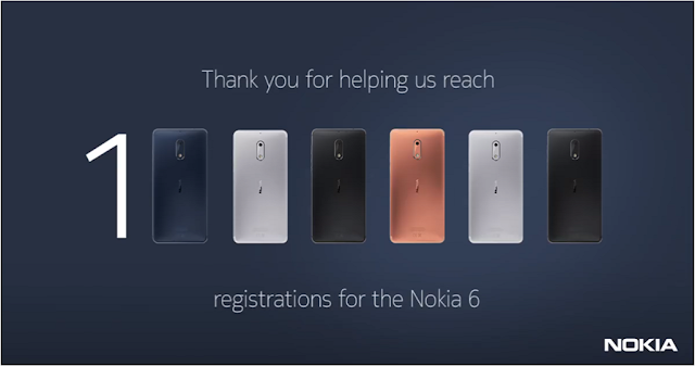 Nokia 6 gets One Million Registrations on Amazon.in
