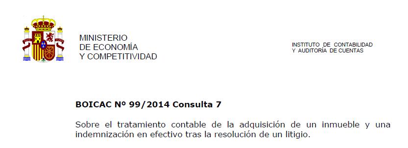 BOICAC 99 Consulta 7: Otorgamiento de activos e indemnización por una Sentencia