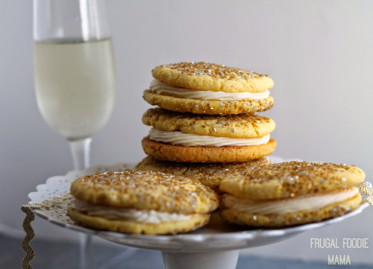 A rich champagne buttercream is sandwiched between two thick & soft sparkling sugared cookies in these Sparkling Champagne Cookie-wiches
