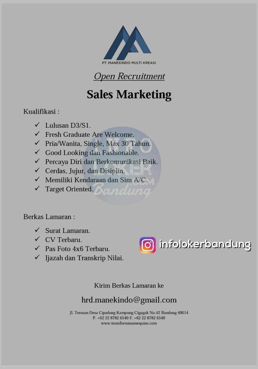 Lowongan Kerja Sales Marketing PT. Manekindo Multi Kreasi Bandung November 2017