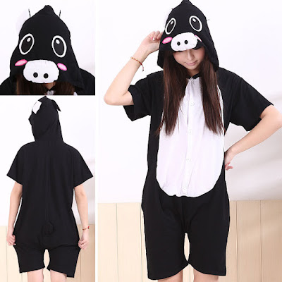 Black Pig Pajamas Onesie Kigurumi Short Sleeve Summer