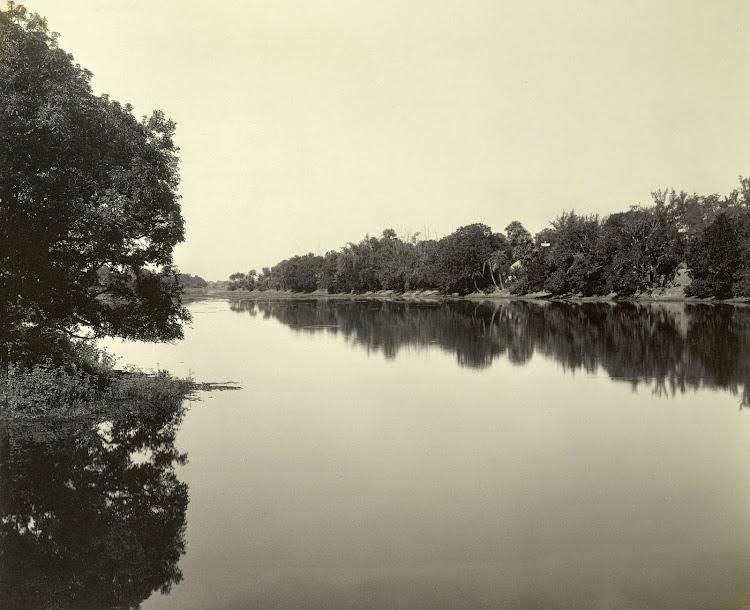 view on the moat in Dilkusha Gardens - Burdwan (Bardhaman), Bengal, 1904