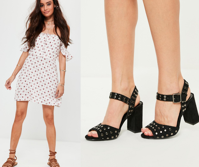 Floral Bardot Dress || Studded Black Heels