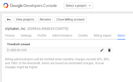 Keep track of your costs with Cloud Platform Billing Alerts