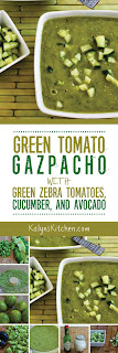 Green Tomato Gazpacho with Green Zebra Tomatoes, Cucumber, and Avocado found on KalynsKitchen.com
