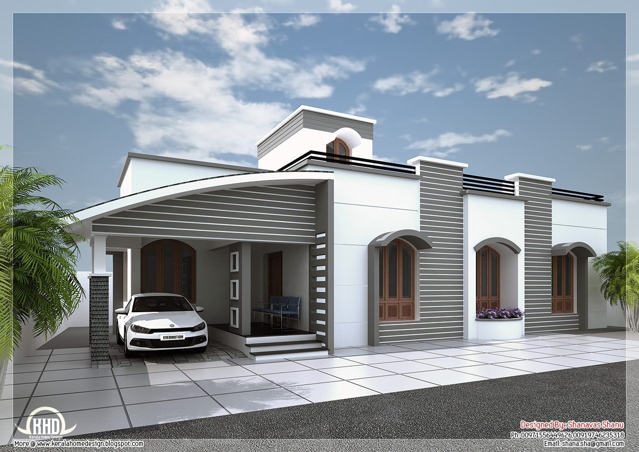 Modern single floor villa in 1350 kerala home for Single floor 4 bedroom house plans kerala