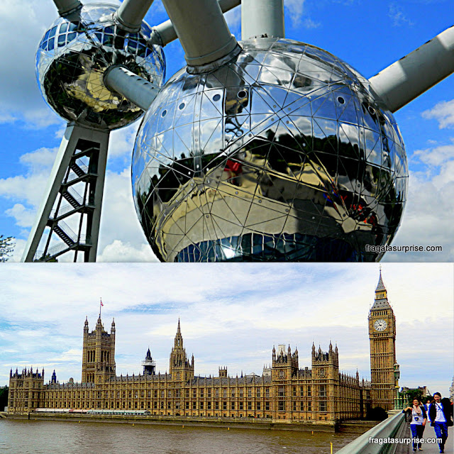Atomium, em Bruxelas, e Big Ben, em Londres