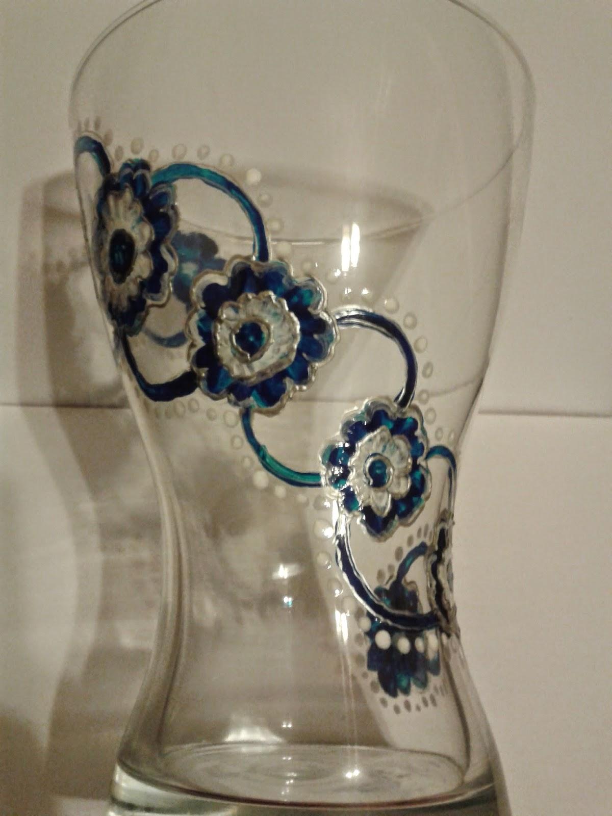 Wazon szklany ręcznie malowany