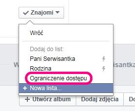 Znajomi na Facebooku - ograniczenia dostępu