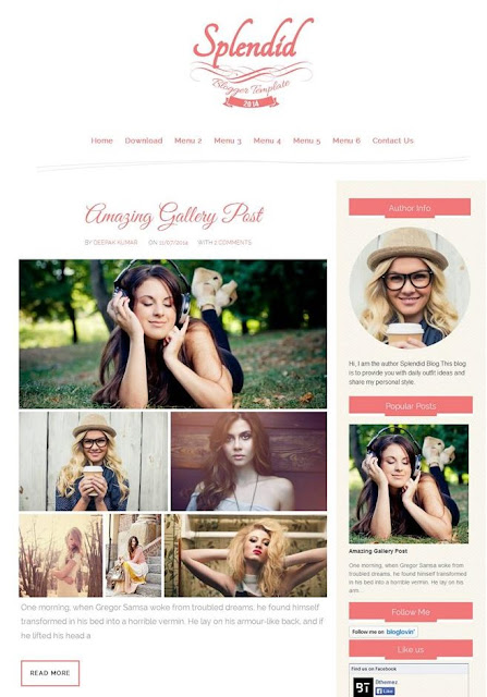 Splendid Free Responsive Photography Blogger Template