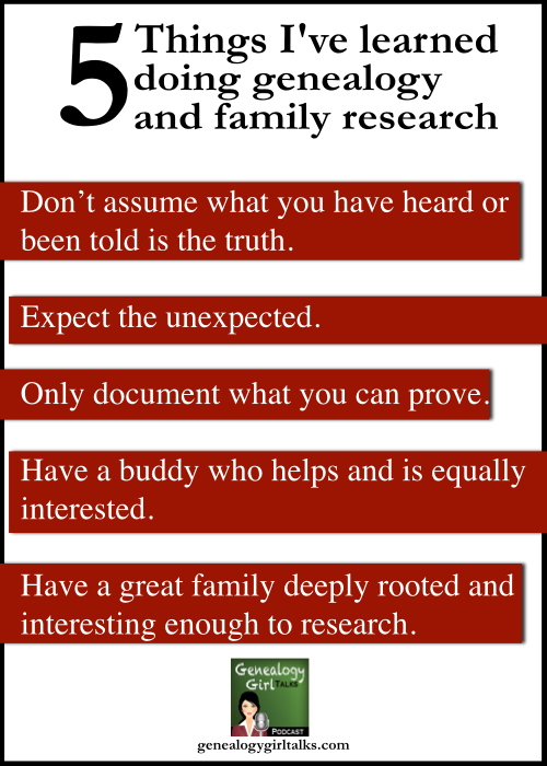 5 Things I've Learned doing genealogy and family research