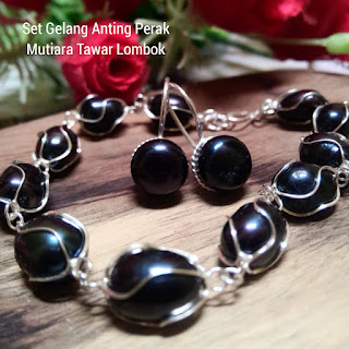 Set Perhiasan Gelang Cincin Perak Mutiara Lombok Air
