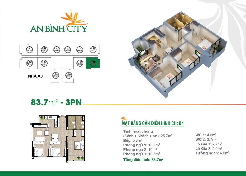 Căn hộ 83,7 m2 tại chung cư An bình City -232 Phạm Văn Đồng