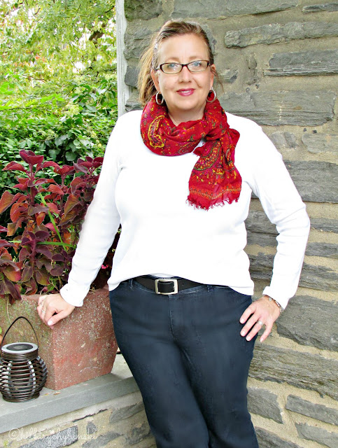 Long Scarf in Fall Colors Styled for Fall