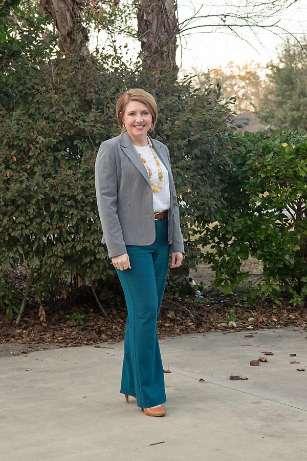 balancing color, fall work wear, grey blazer