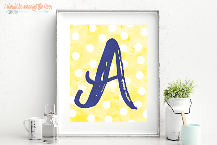Free Printable Watercolor Monograms | Letters A-Z available for instant download.
