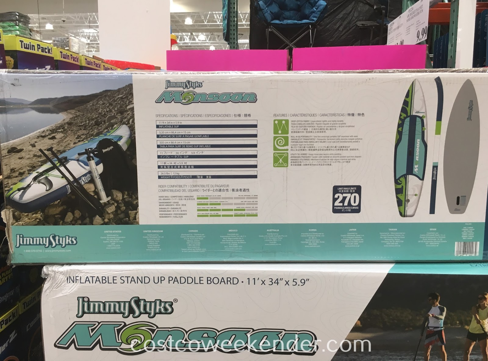 Costco 1109359 - Jimmy Styks Monsoon Inflatable Stand Up Paddle Board: great for an active lifestyle