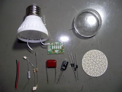 Componentes do kit de lâmpada de LED