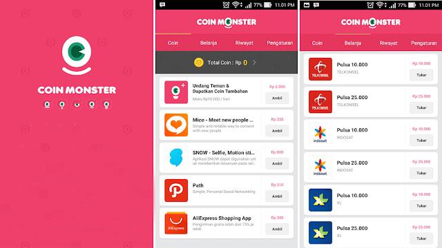 Mendapatkan Pulsa gratis dengan aplikasi Coin Monster 100% Berhasil