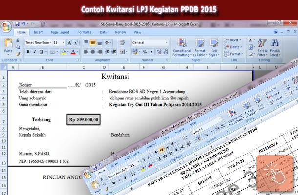 Contoh Kwitansi LPJ Kegiatan PPDB 2015 Format Microsoft Excel
