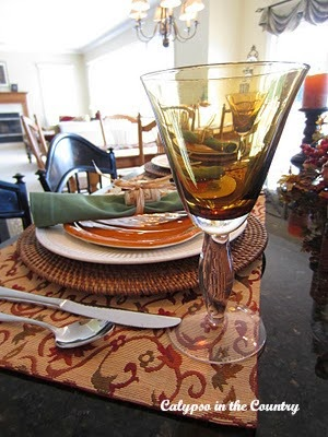 Amber wine glass for Halloween place setting