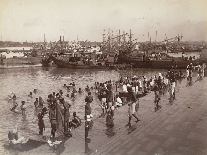 Bathing in the Hooghly River - Calcutta (Kolkata) c1885
