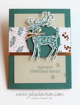 Stampin' Up! Dashing Deer Christmas Card ~ 2018 Holiday Catalog ~ Weekend Card Challenge ~ Sketch Challenge ~ www.juliedavison.com
