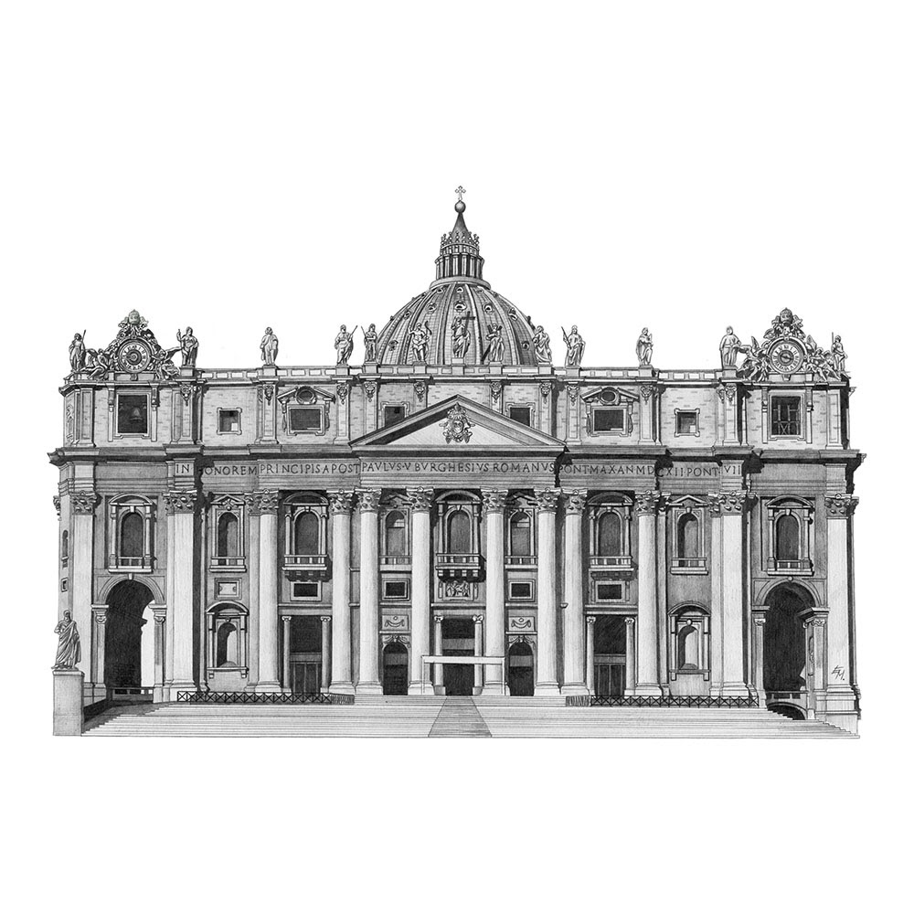 03-St-Peter-s-Cathedral-Rome-Italy-Elizabeth-Mishanina-Architecture-Immaculate-Drawing-Technique-www-designstack-co