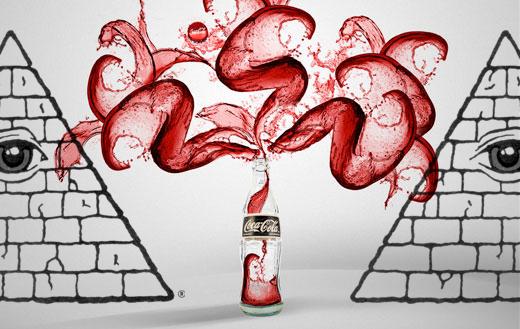 botella de coca cola rodeada se símbolos illuminati