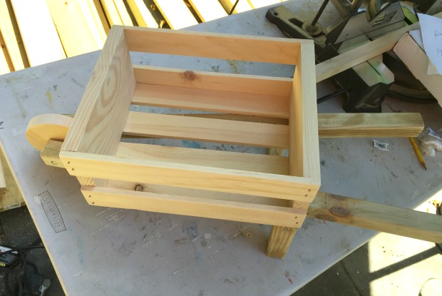 tabletop rustic wheelbarrow using small crate