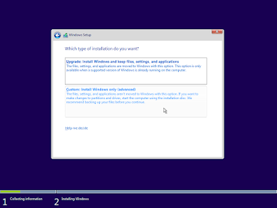 "Pilih ""Custom : install Windows only (advanced)"""