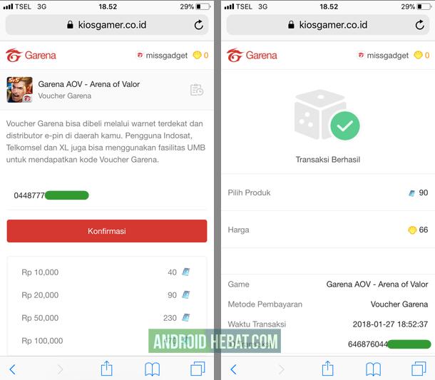 cara isi kode voucher aov di android dan iPhone