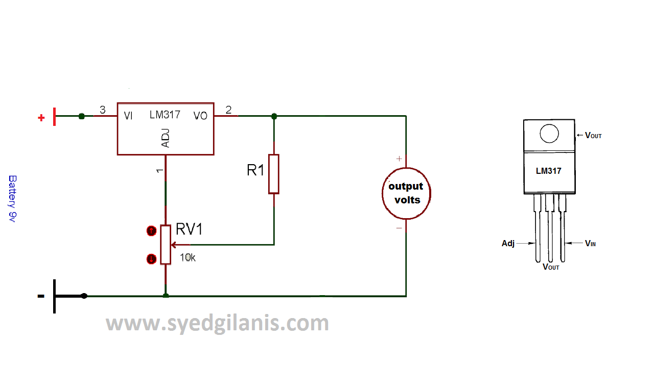 Adjustable DC power supply easy & simple electronic circuit