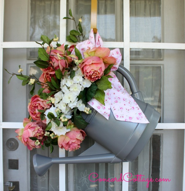 Watering Can Wreath- Concord Cottage-Treasure Hunt Thursday- From My Front Porch To Yours
