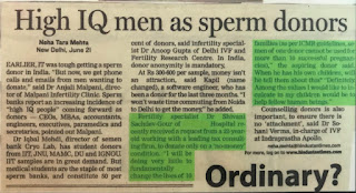 High IQ men as sperm donors - Dr Shivani Sachdev Gour