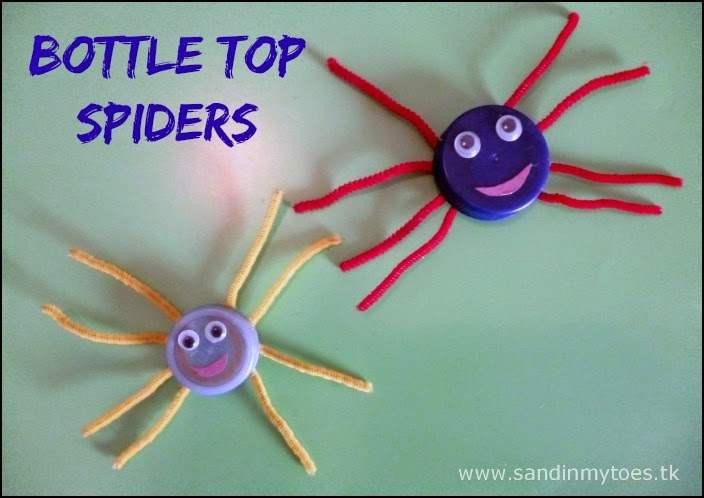 Easy recycled craft - Bottle Top Spiders