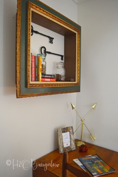 DIY repurposed picture frame wall shelves