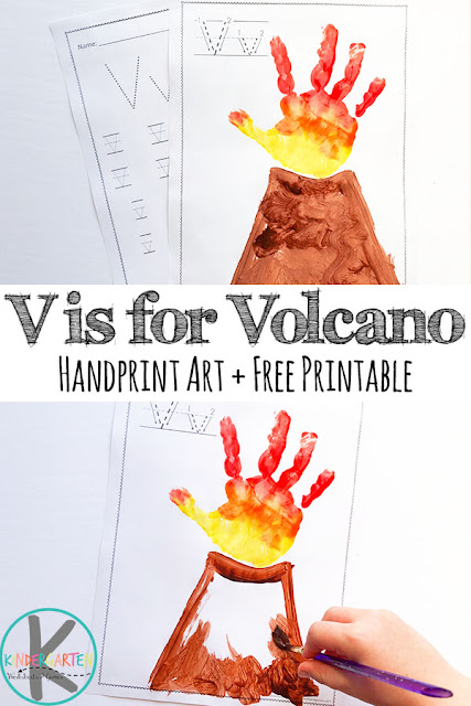Letter-V-Worksheets-and-Volcano-Hand-Art