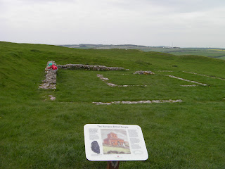 foundations of ruined roman temple maiden castle