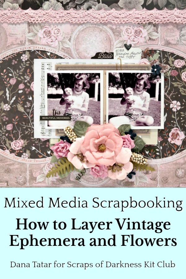 Pink and Black Floral Shabby Chic Scrapbook Layout with Vintage Photos Ephemera and Flowers