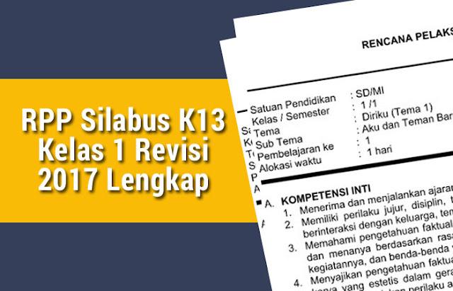 RPP Silabus K13 Kelas 1 Revisi 2017 Lengkap