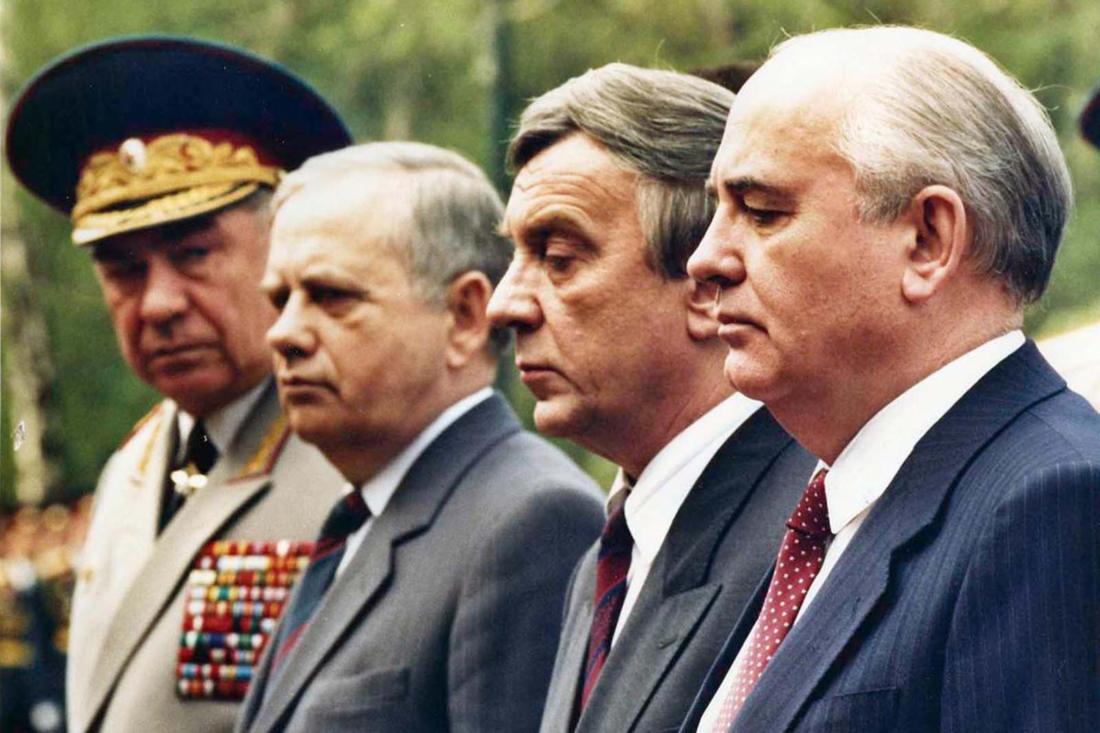 A few weeks before the Coup, Mikhail Gorbachev stands surrounded by his so-called friends, all of them soon to be leaders of the August Coup against him. Vice President Gennady Yanayev, second from right, became the most visible of the Coup leaders. Here, they are lighting the flame at the tomb of the unknown soldier outside the Kremlin wall in May of 1991.