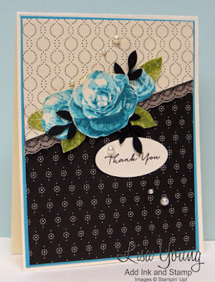 Stampin' Up! Picture Perfect stamp set. Turquoise blue roses with Timeless Elegant paper. Handmade card by Lisa Young, Add Ink and Stamp